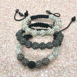 Jewelry - 3 Piece Adjustable Shamballa Bracelet Set